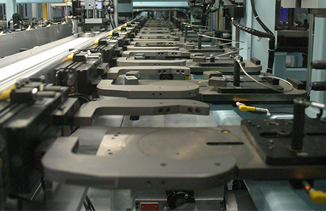 assembly line with metal parts