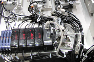 group of wires and compartments