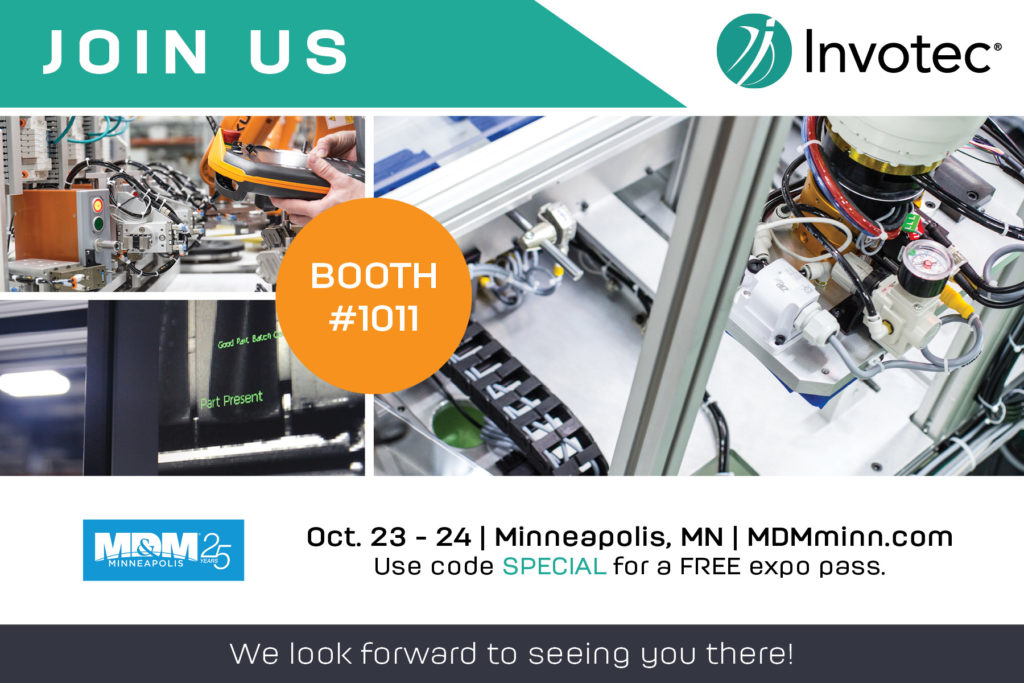 invotec in booth 1011 at MDM Minneapolis October 23-24 2019